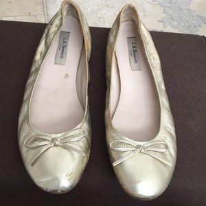 LK Bennett Light Gold Ballet Flats 9